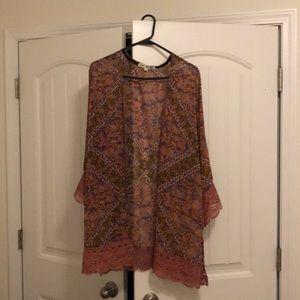 Pretty Jolt floral kimono with lace Size L